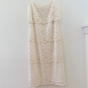 Sparkly White Lace Bodycon Layered Dress